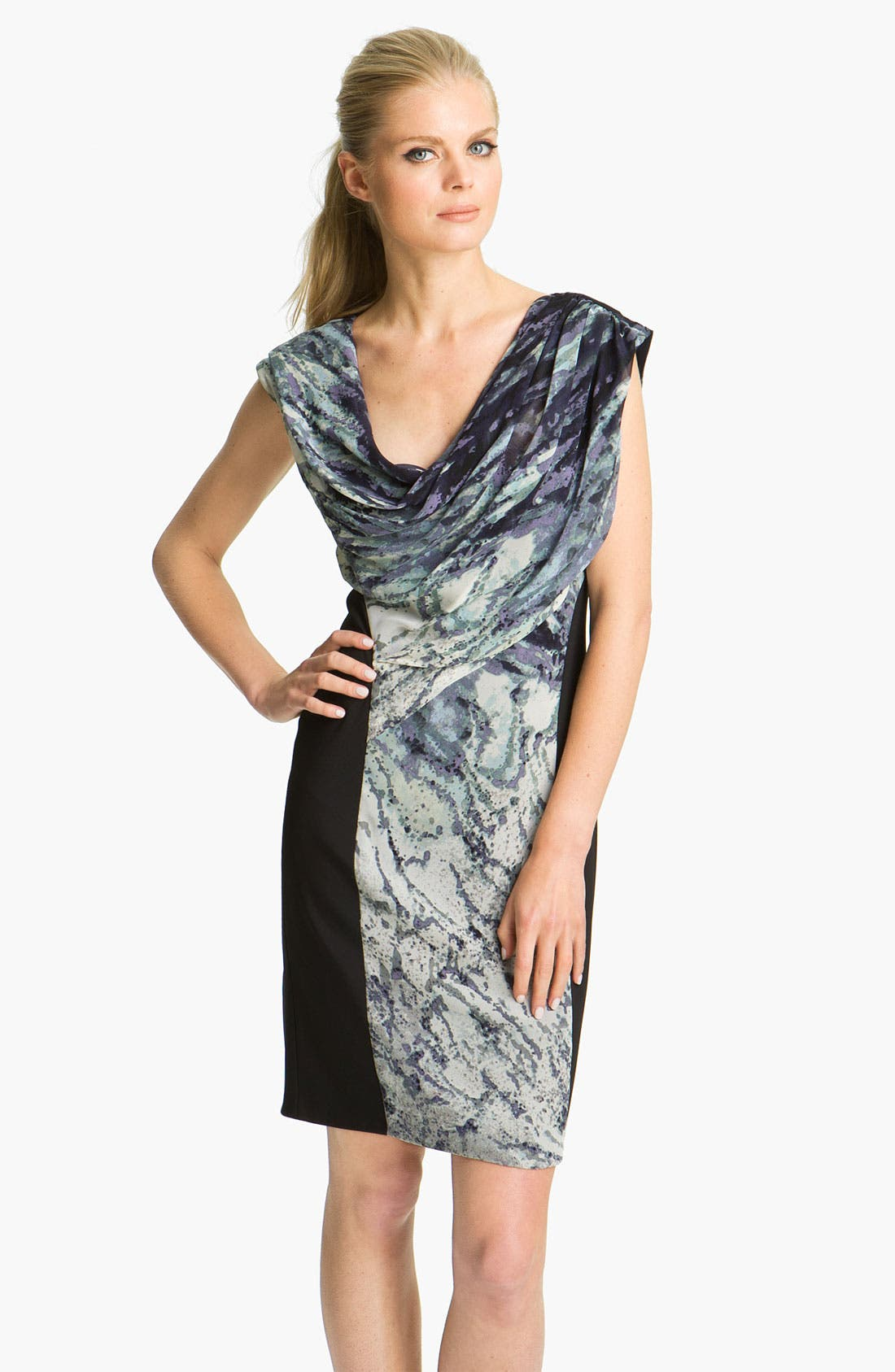 Alternate Image 1 Selected - Suzi Chin for Maggy Boutique Asymmetrical Draped Silk Dress