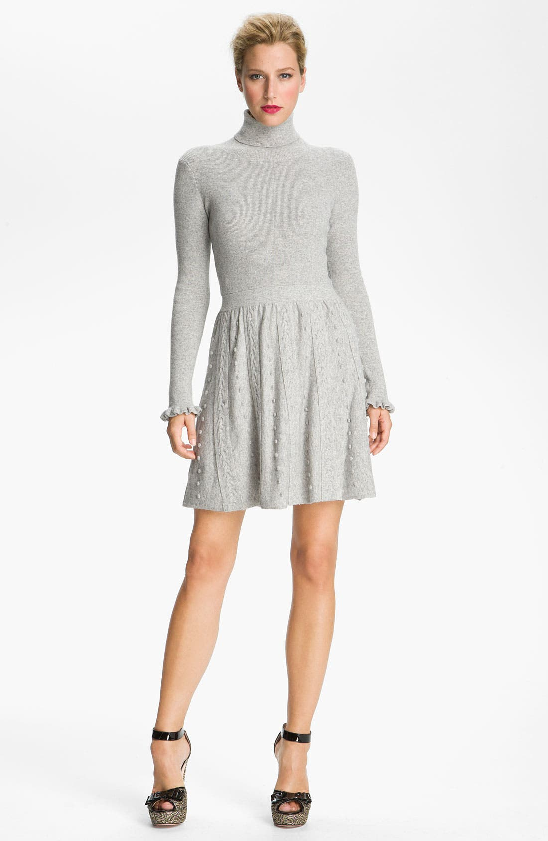 Main Image - RED Valentino Cable Knit Turtleneck Dress