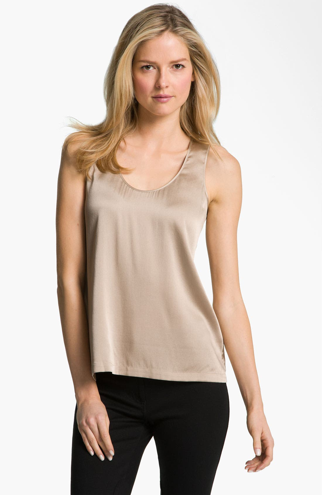 Alternate Image 1 Selected - Eileen Fisher Stretch Silk Charmeuse Tank