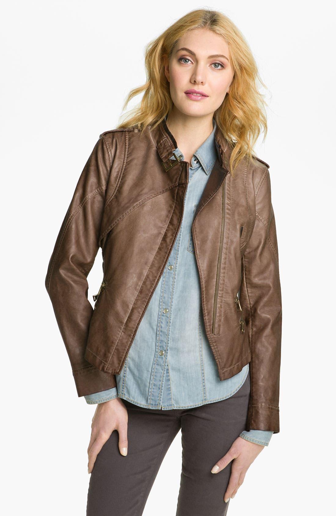 Alternate Image 1 Selected - Steve Madden Asymmetrical Faux Leather Jacket