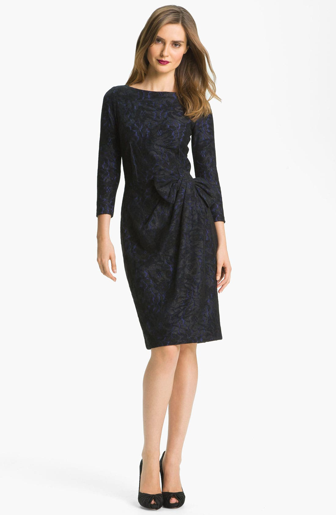 Alternate Image 1 Selected - David Meister Textured Bow Detail Sheath Dress