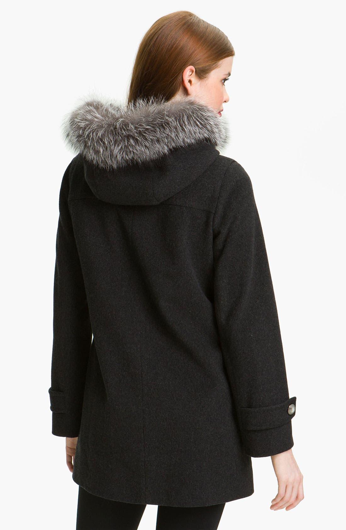 Alternate Image 2  - Fleurette Duffle Coat with Genuine Fox Fur Collar