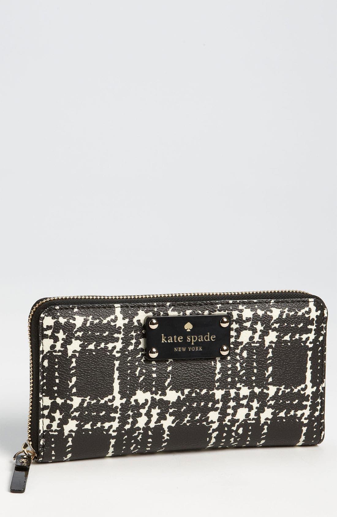 Alternate Image 1 Selected - kate spade new york 'belleville plaid - lacey' zip around wallet