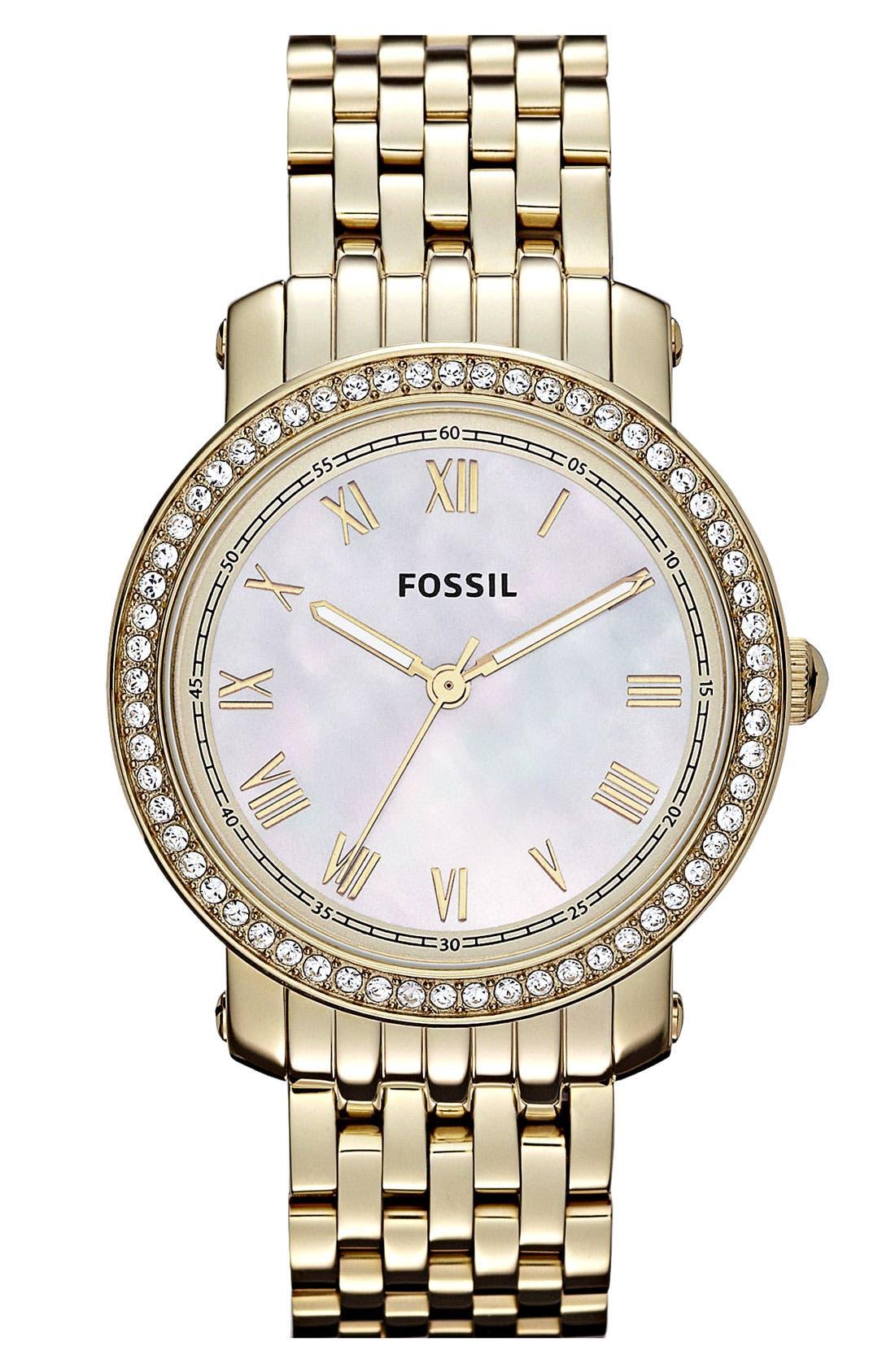 Alternate Image 1 Selected - Fossil 'Emma' Crystal Bezel Bracelet Watch, 38mm