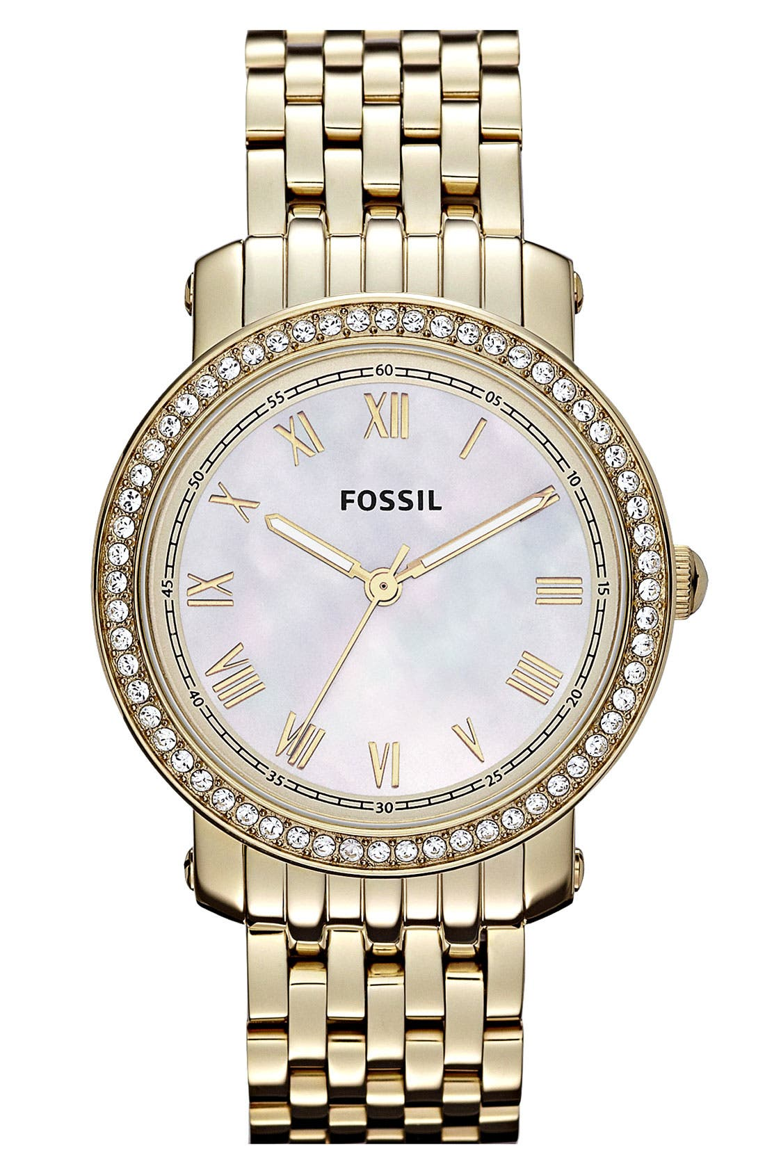Main Image - Fossil 'Emma' Crystal Bezel Bracelet Watch, 38mm