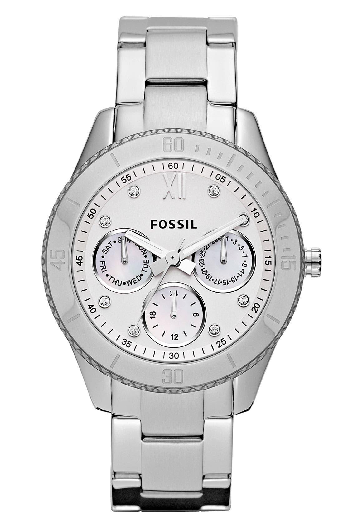 Alternate Image 1 Selected - Fossil 'Stella' Crystal Bezel Bracelet Watch, 37mm