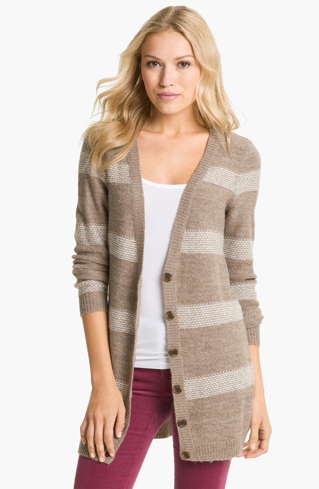 Alternate Image 1 Selected - Caslon® Long Stripe Cardigan