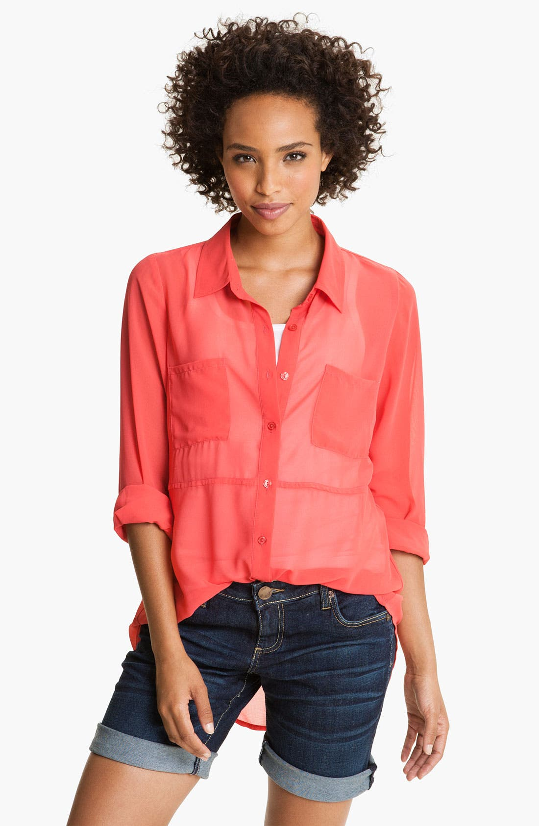 Alternate Image 1 Selected - MOD.lusive Sheer Split Back Shirt (Nordstrom Exclusive)