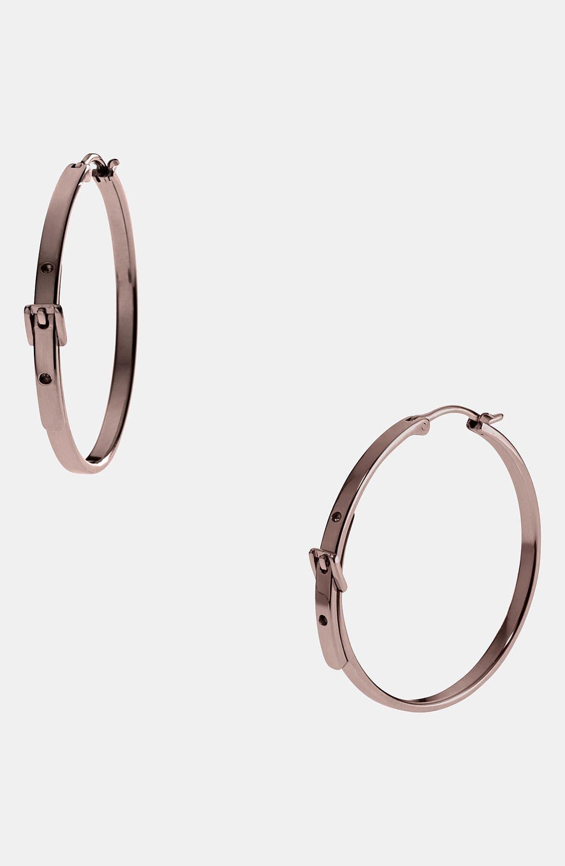 Alternate Image 1 Selected - Michael Kors Buckle Medium Hoop Earrings