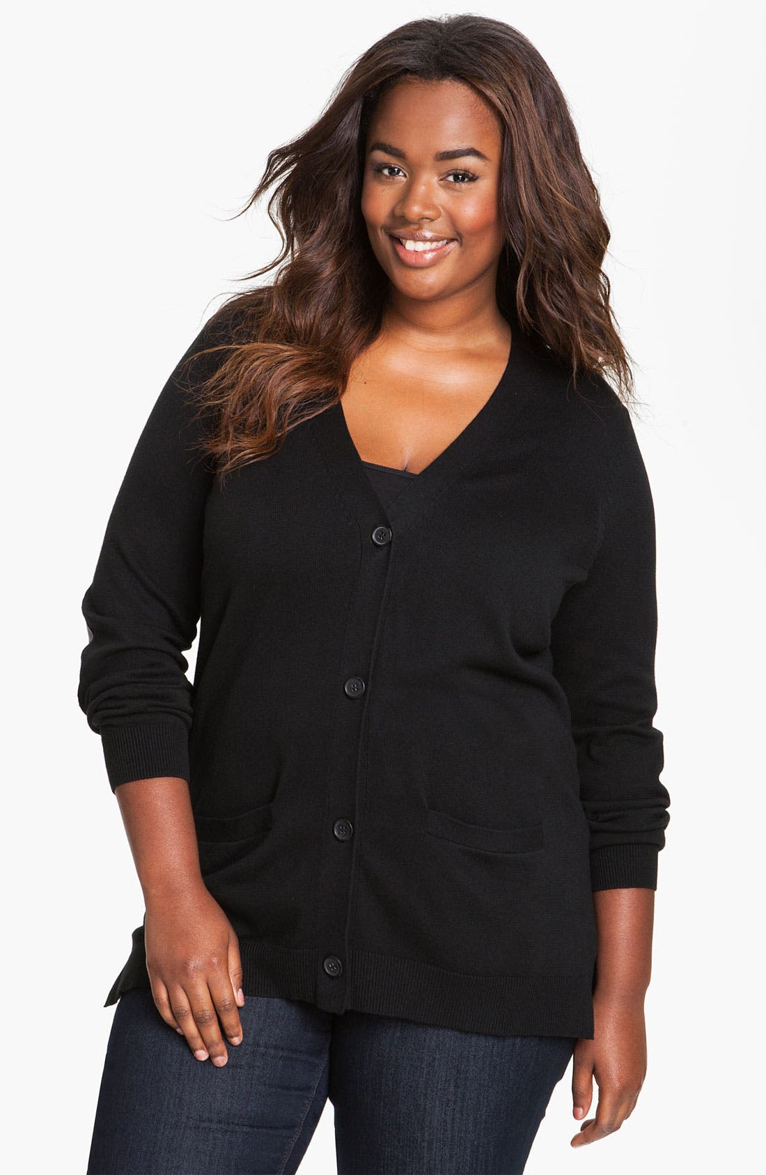 Main Image - Vince Camuto Elbow Patch Cardigan (Plus)
