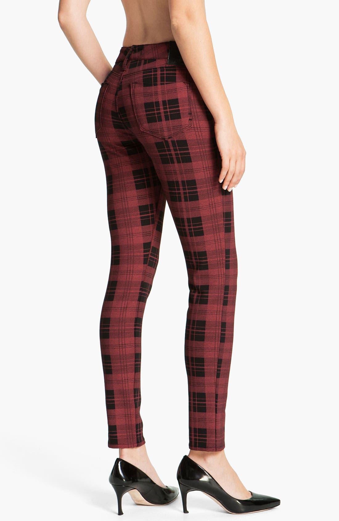 Alternate Image 1 Selected - Dylan George Plaid Skinny Pants (Red/Black Plaid)
