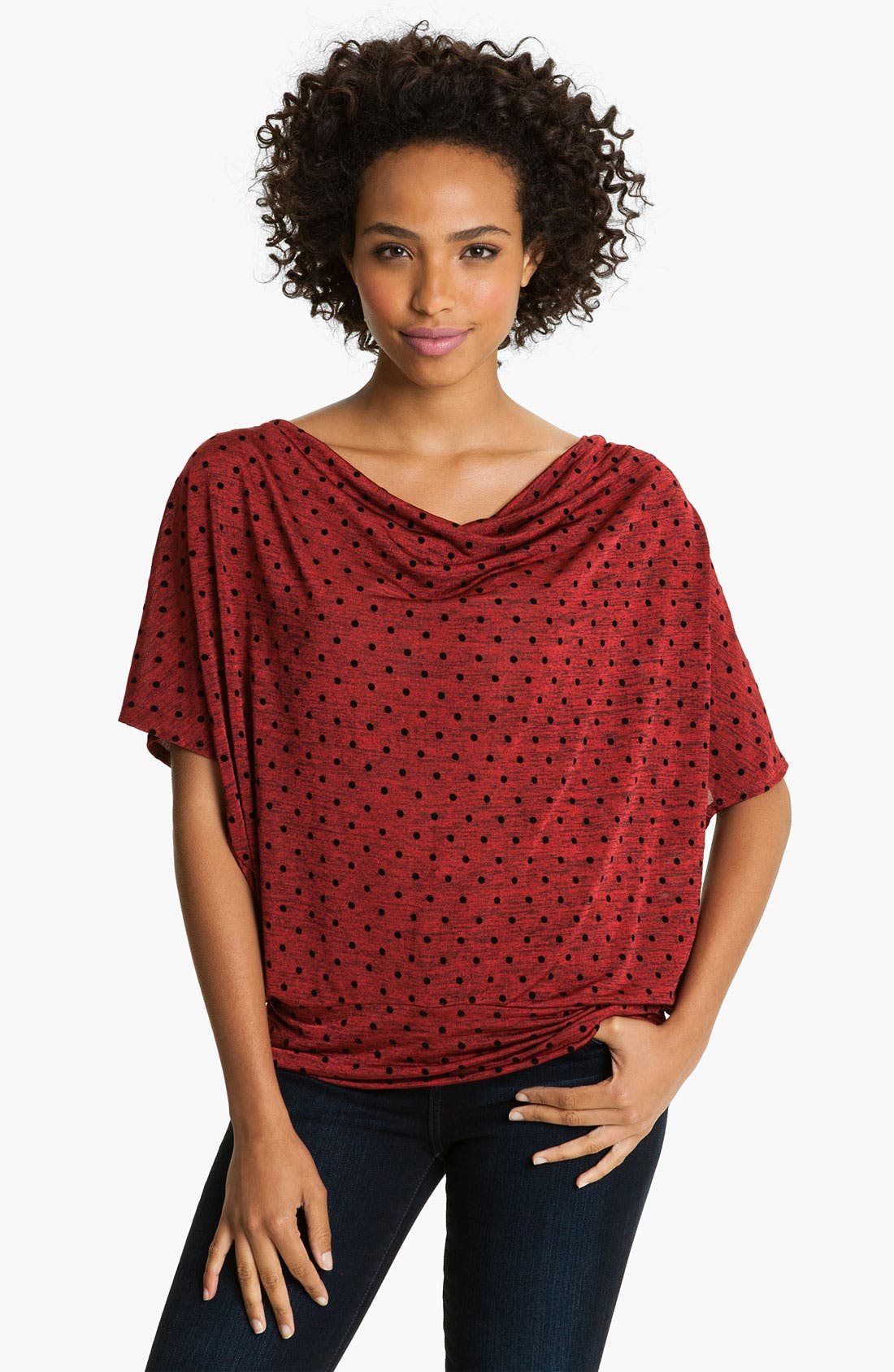 Main Image - Bobeau Dot Drape Neck Top