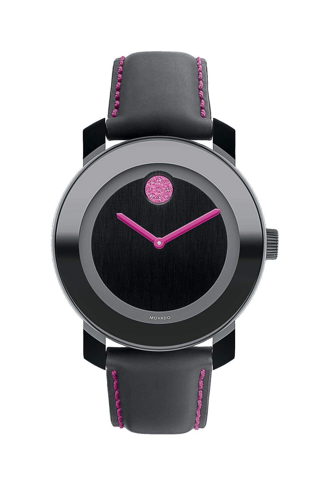 Main Image - Movado 'Bold' Round Leather Strap Watch (Special Edition - Breast Cancer Awareness)