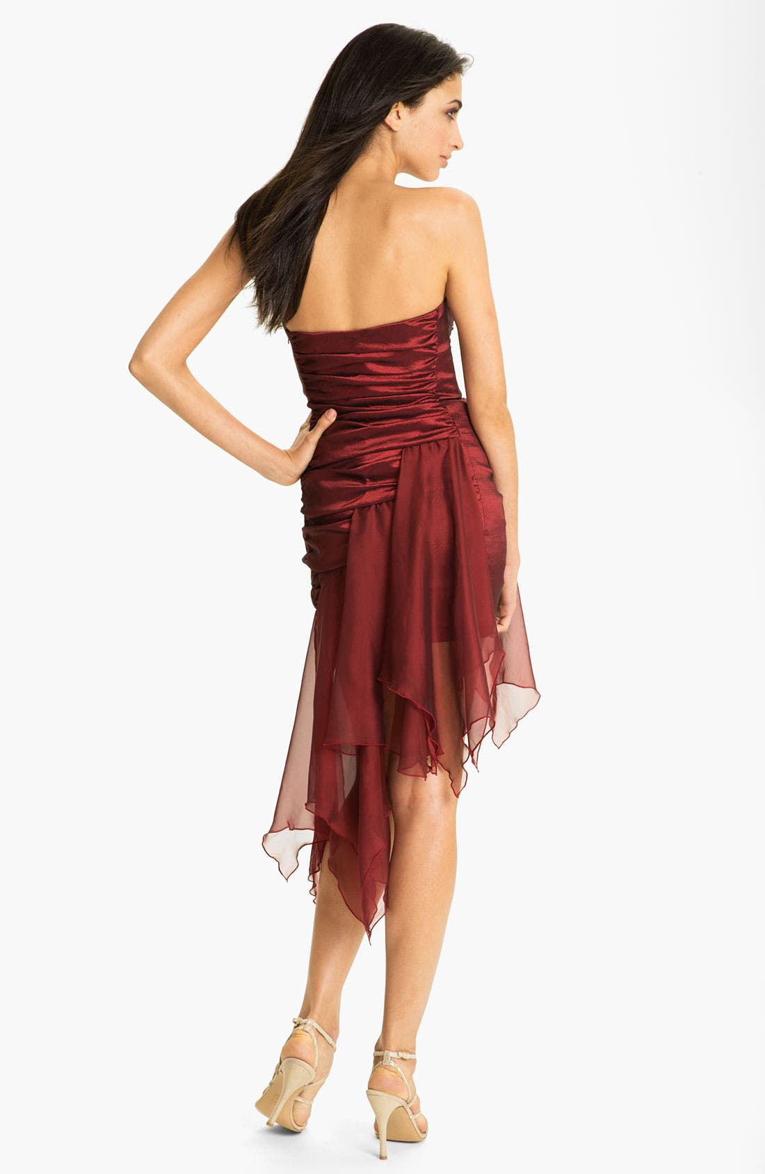 Alternate Image 2  - Jessica McClintock Ruched Handkerchief Hem Taffeta Dress