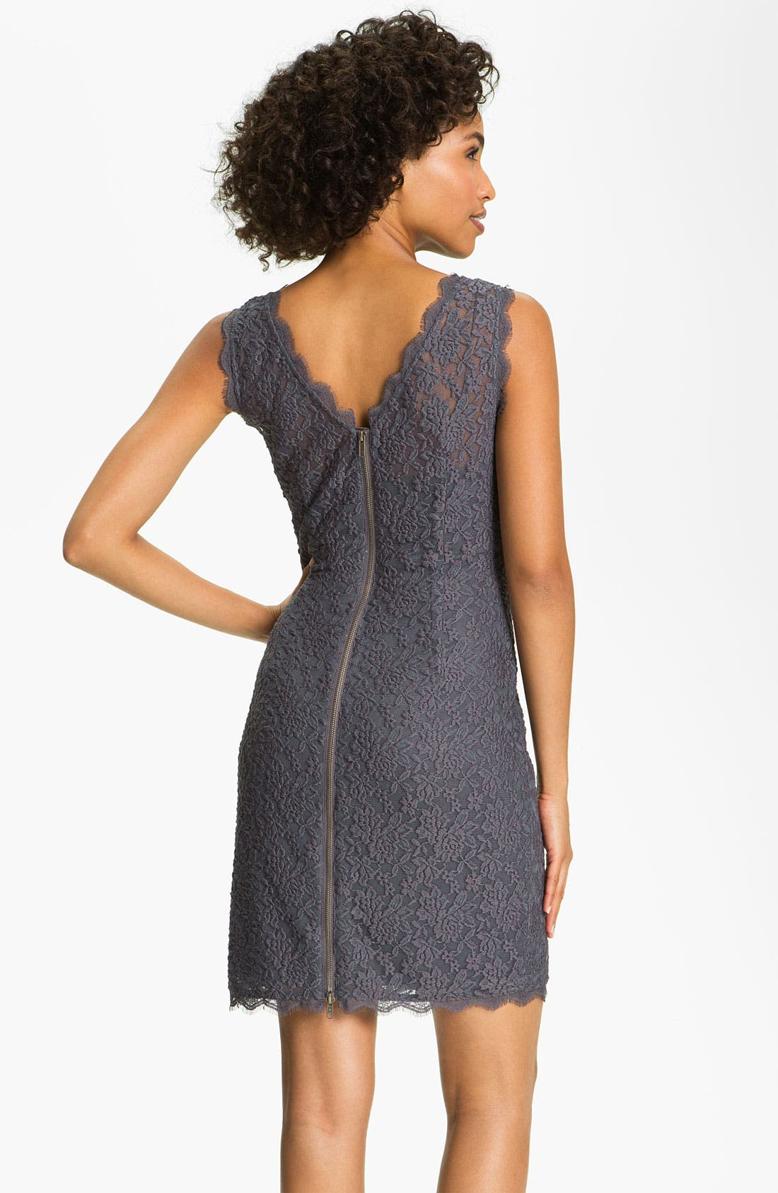 Alternate Image 2  - Adrianna Papell V-Back Lace Sheath Dress