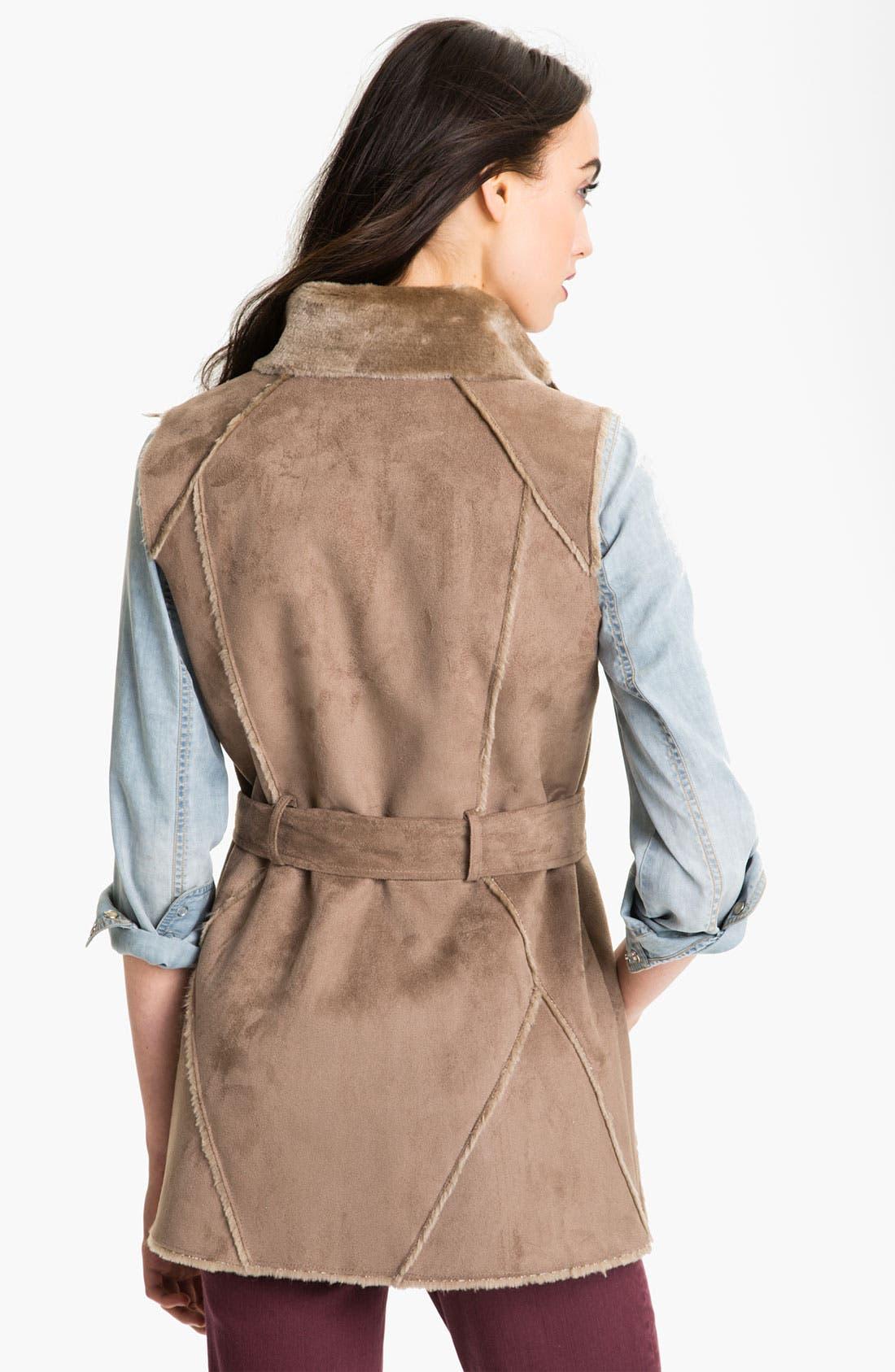 Alternate Image 2  - Ellen Tracy Faux Shearling Notch Collar Vest