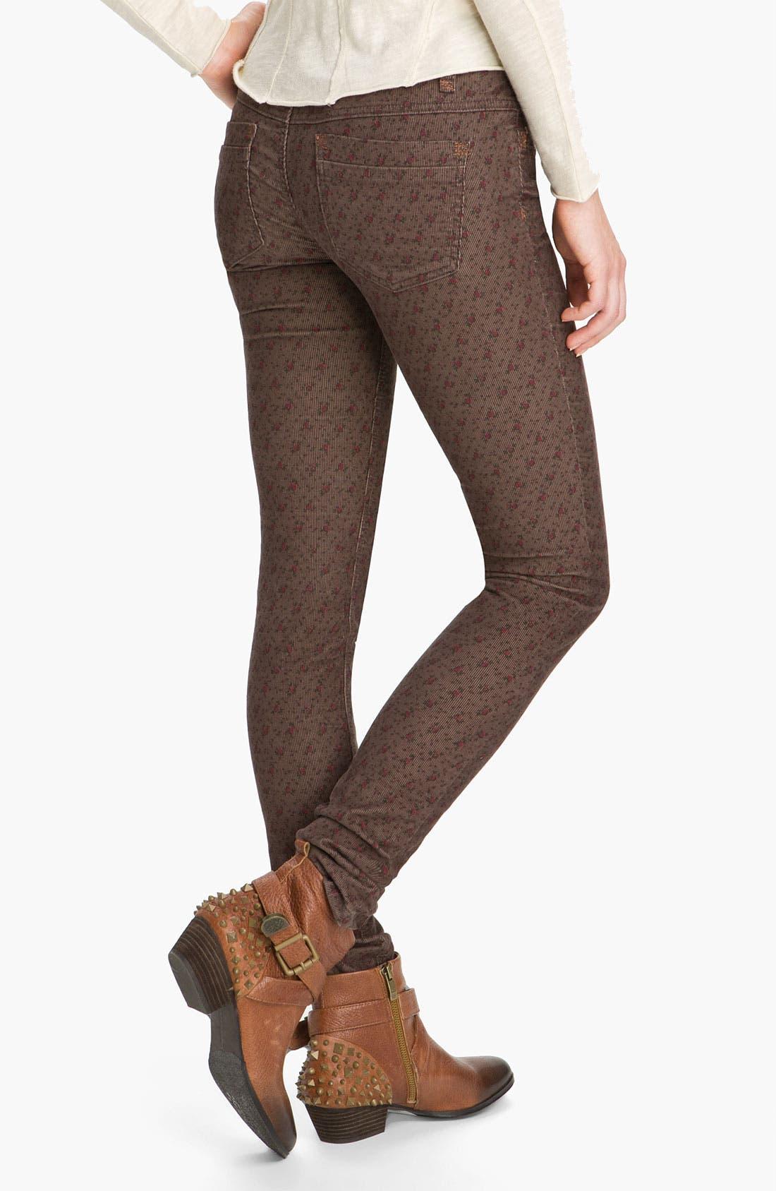 Alternate Image 2  - Free People Floral Print Skinny Corduroy Pants