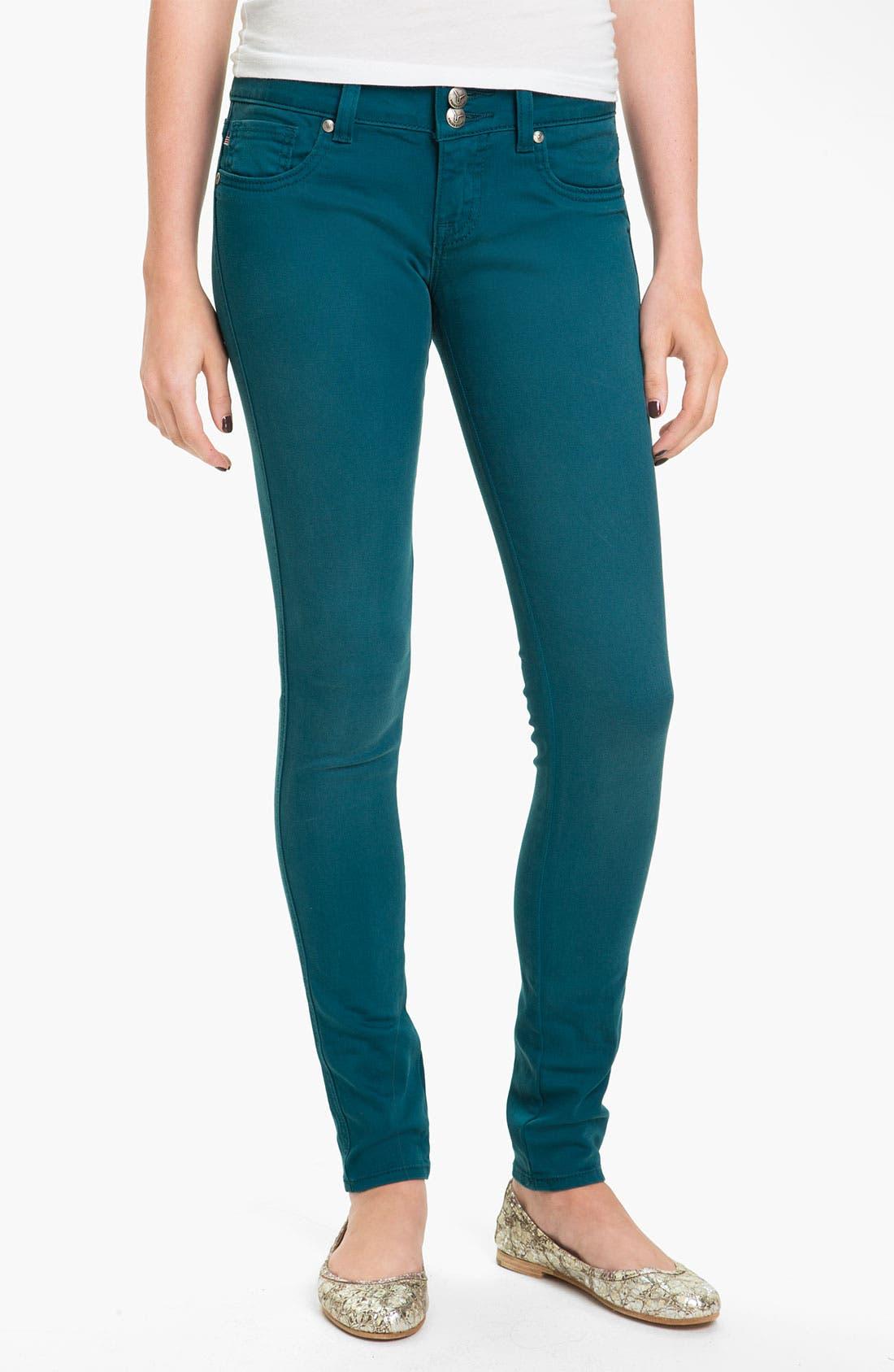 Alternate Image 2  - Vigoss Color Skinny Jeans (Teal) (Juniors)