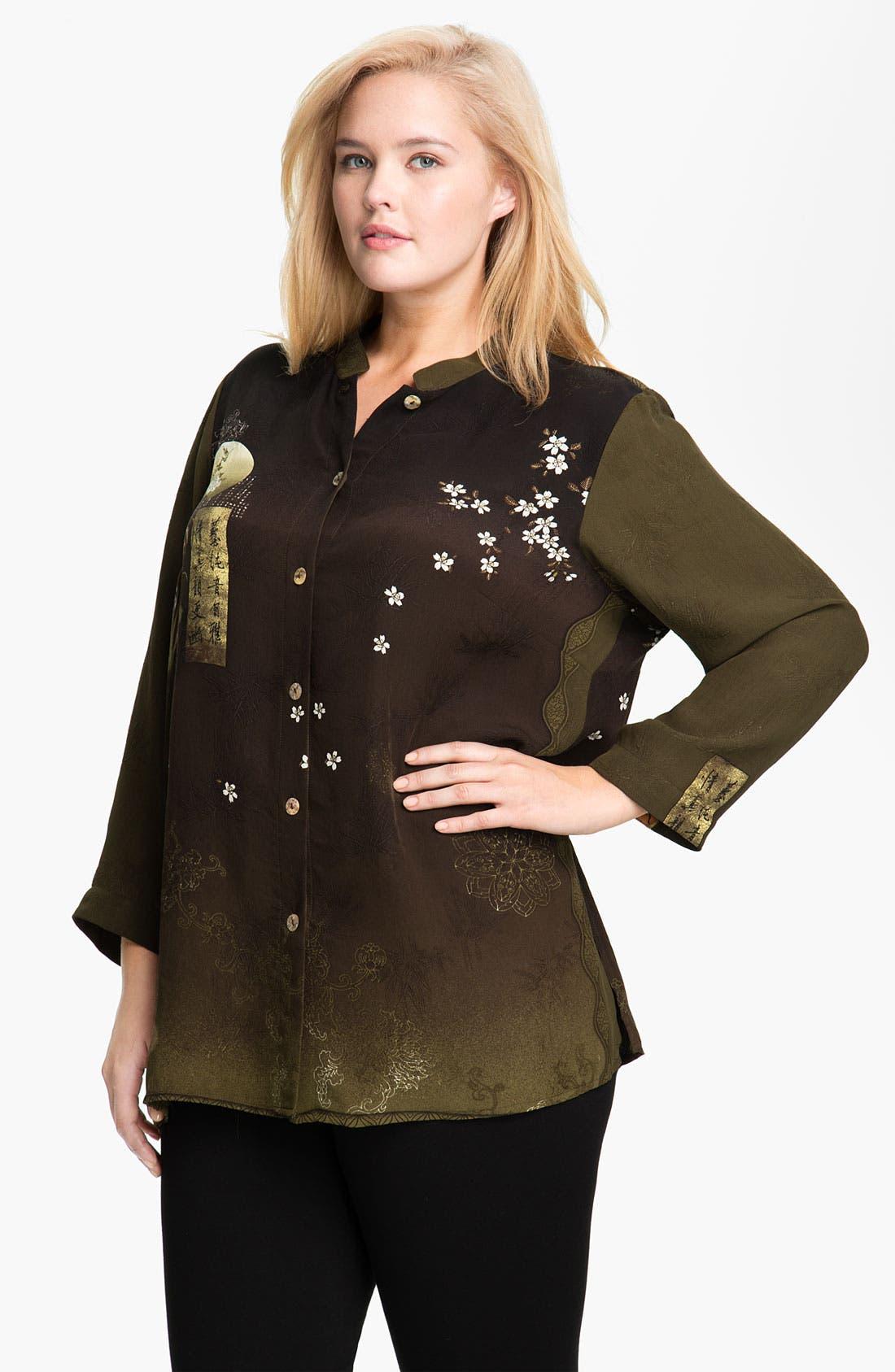 Main Image - Citron Embroidered Silk Jacket (Plus)