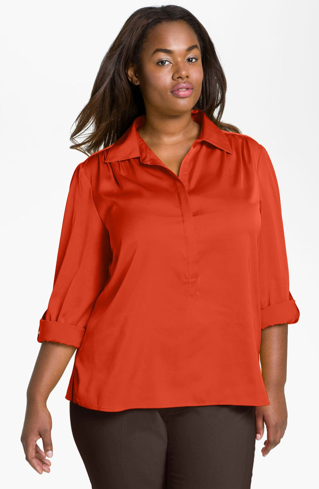 Main Image - Vince Camuto Roll Sleeve Top (Plus)