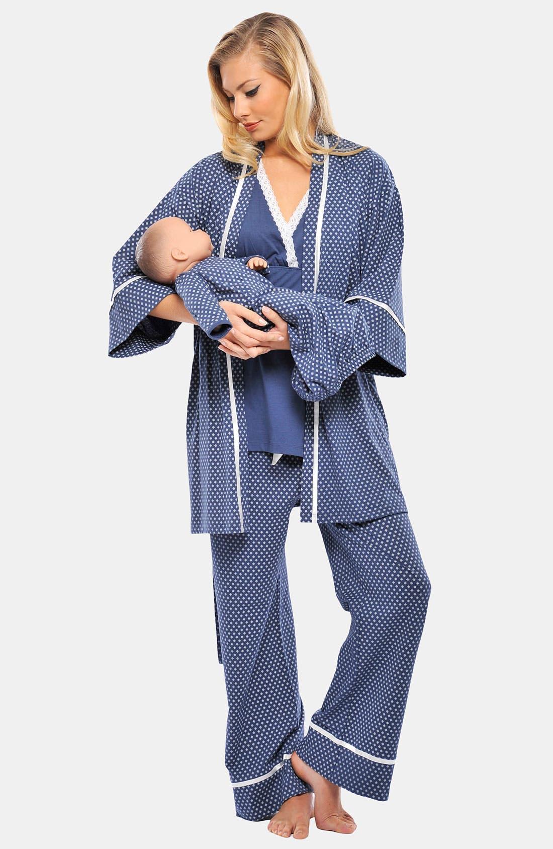 Main Image - Olian 'Lila' Print Peplum Maternity Top