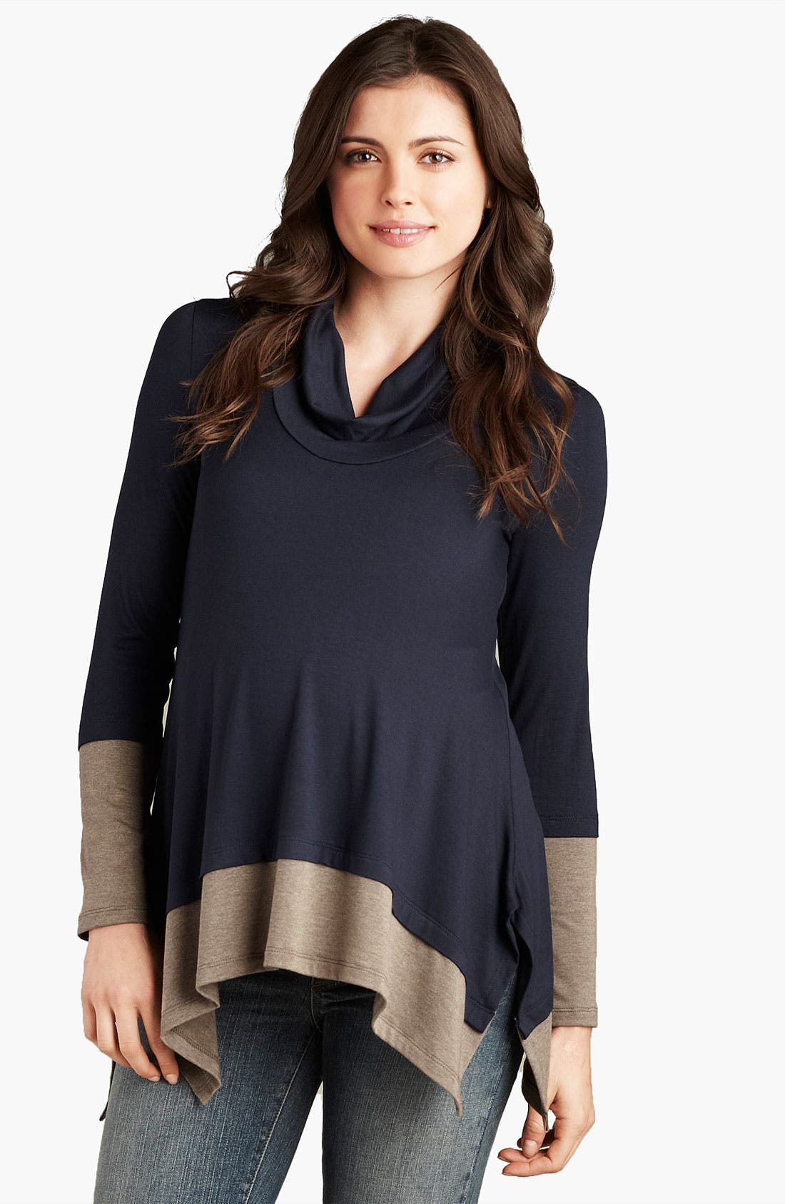 Main Image - Maternal America Maternity Cowl Neck Layered Top