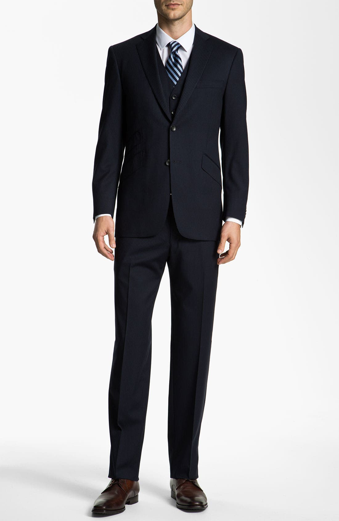 Alternate Image 2  - Hart Schaffner Marx Stripe Three Piece Wool Suit