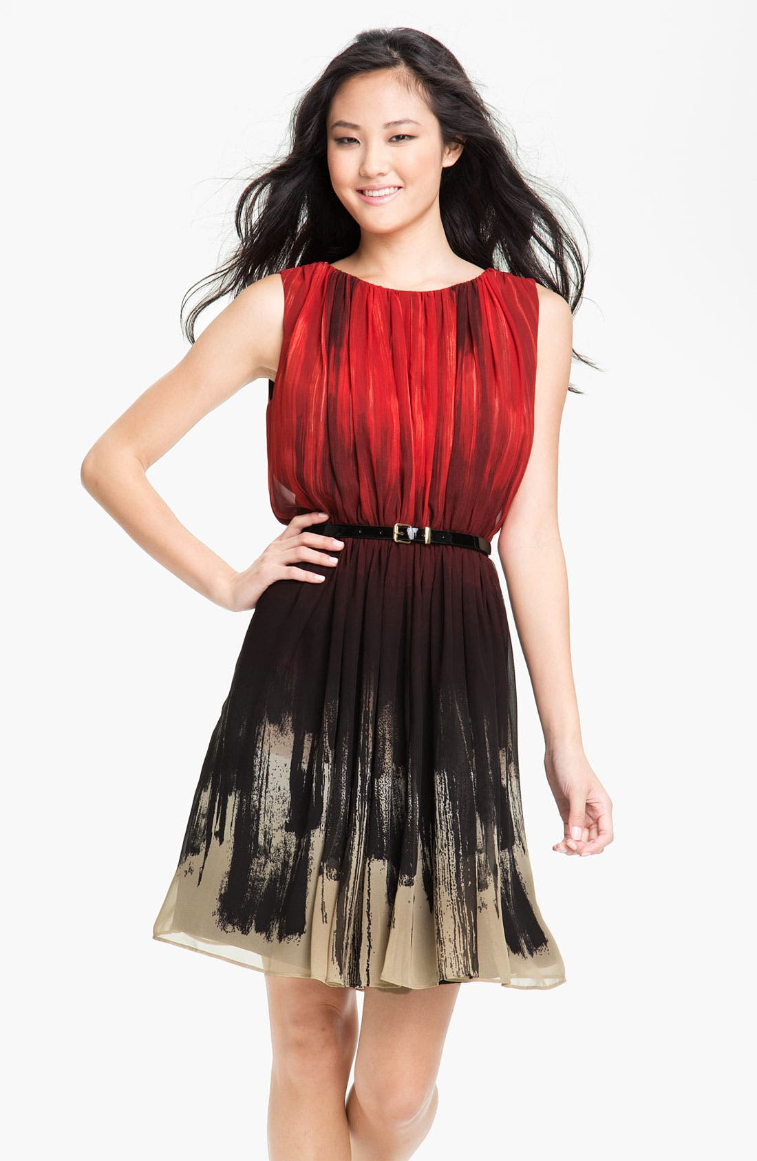 Main Image - Calvin Klein Gradient Print Belted Chiffon Dress