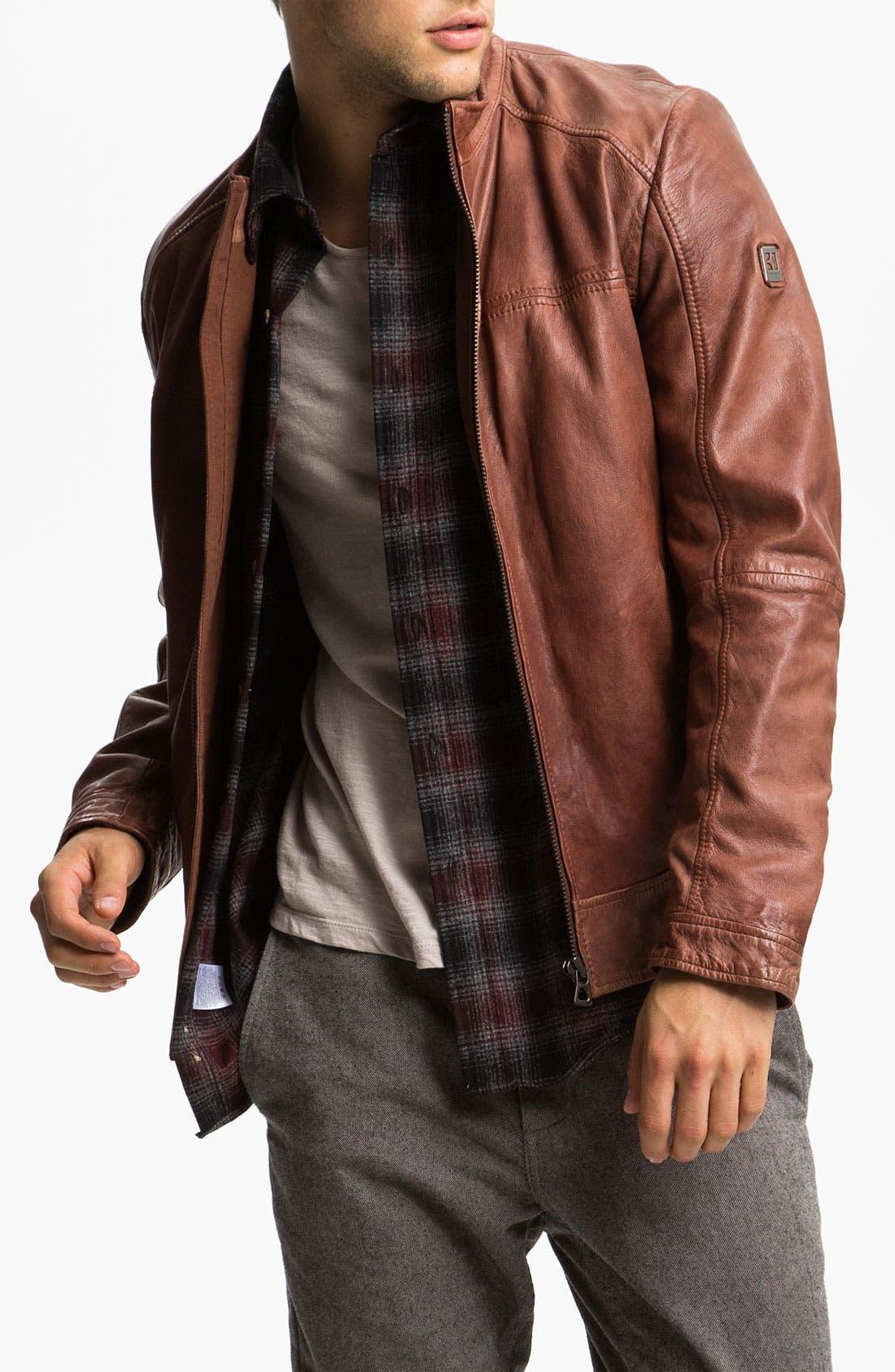 Main Image - BOSS Orange 'Jab' Leather Jacket