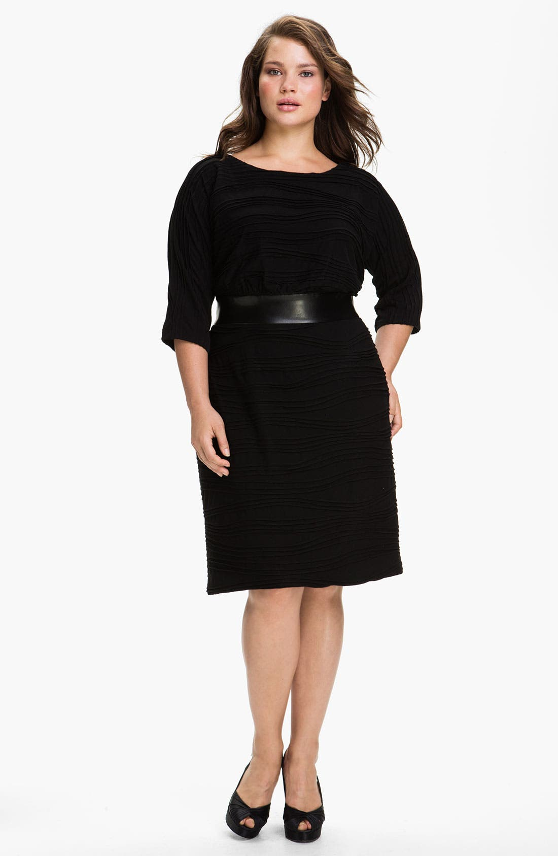 Main Image - Adrianna Papell Faux Leather Trim Jersey Sheath Dress (Plus)