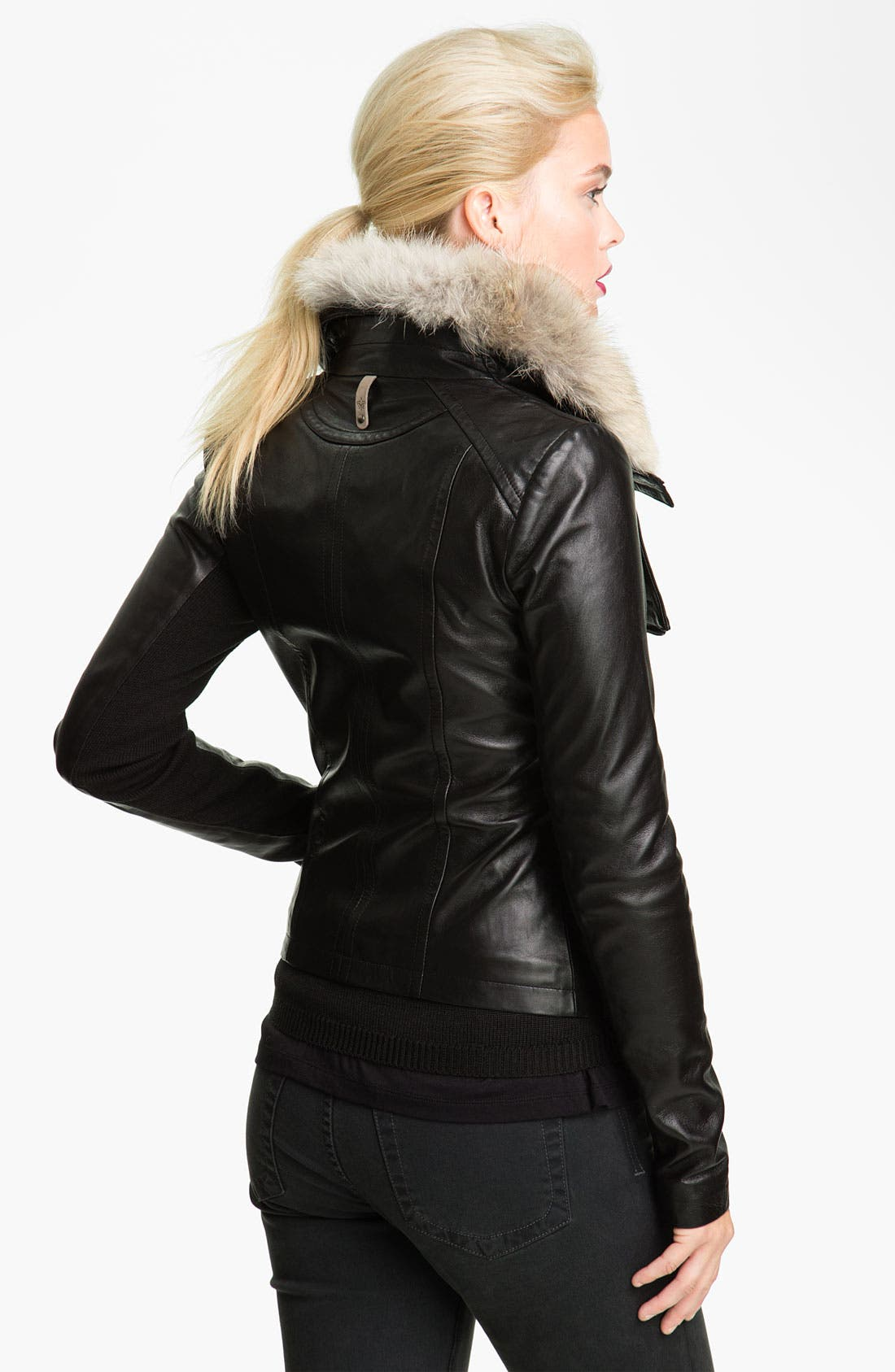 Alternate Image 4  - Mackage 'Jora' Genuine Coyote Fur Collar Leather Jacket with Removable Vest