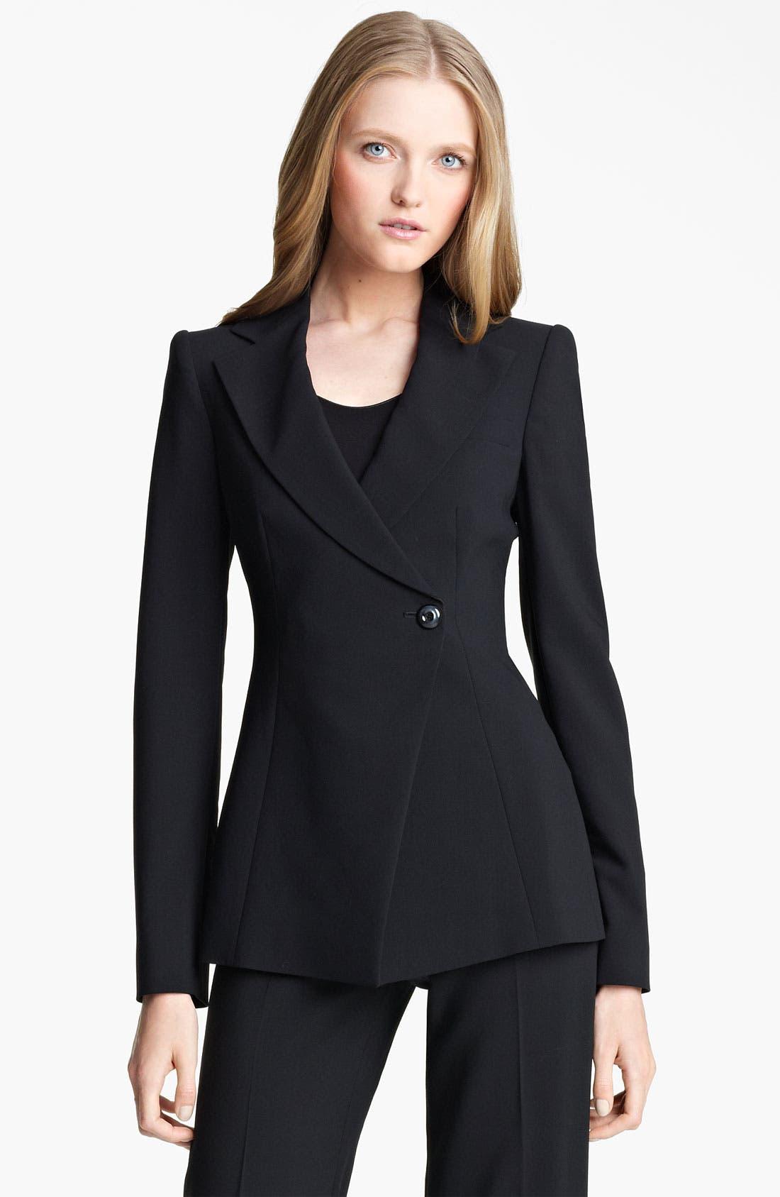 Main Image - Armani Collezioni Asymmetrical Featherweight Wool Jacket