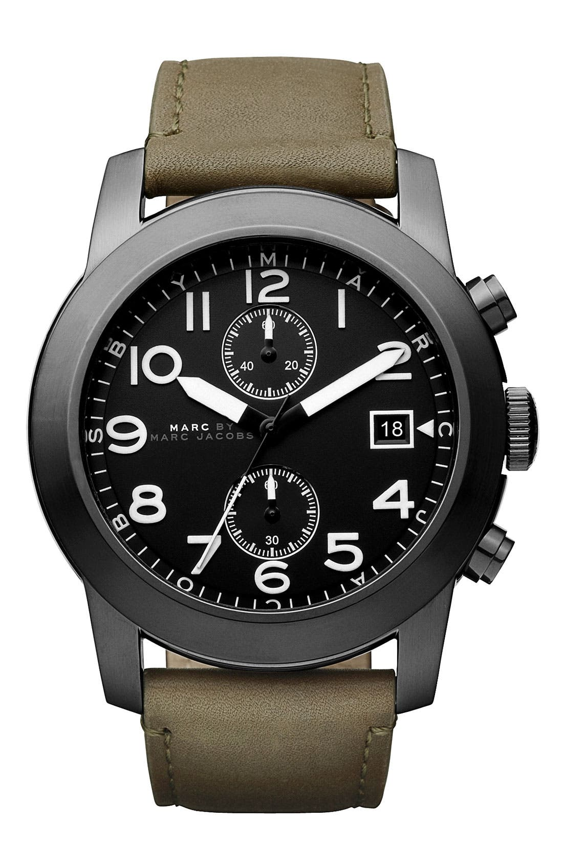 Alternate Image 1 Selected - MARC BY MARC JACOBS 'Larry' Chronograph Leather Strap Watch
