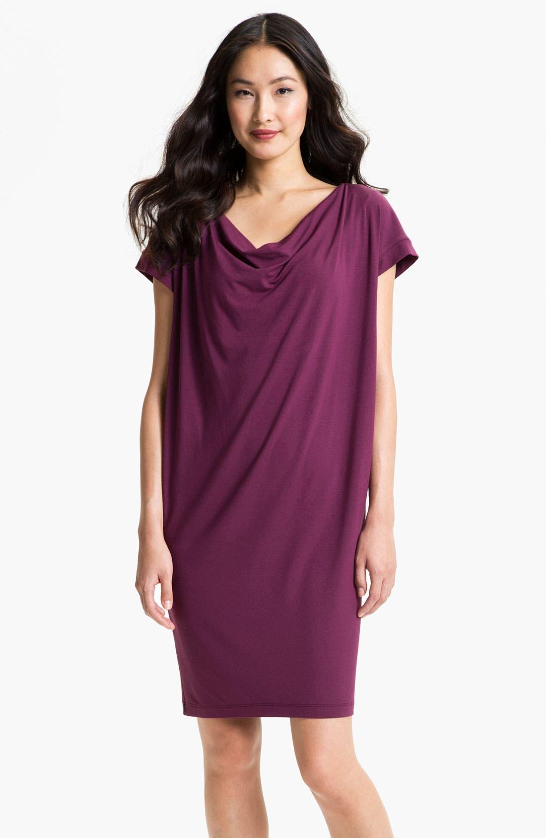 Alternate Image 1 Selected - Eileen Fisher Drape Front Shift Dress (Regular & Petite)