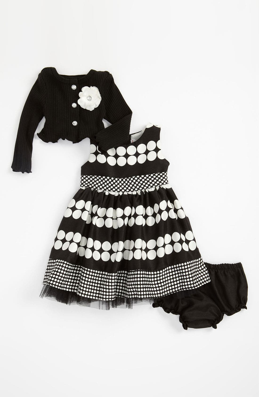 Alternate Image 1 Selected - Sweet Heart Rose Dress, Cardigan & Bloomers (Infant)