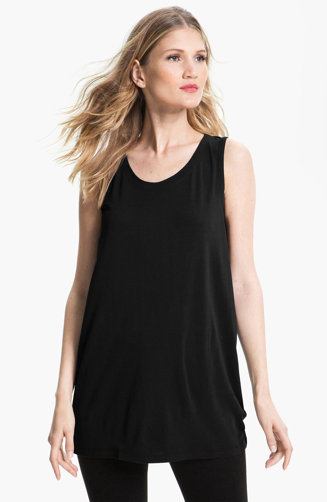 Main Image - Eileen Fisher Scoop Neck Silk Tunic (Regular & Petite)