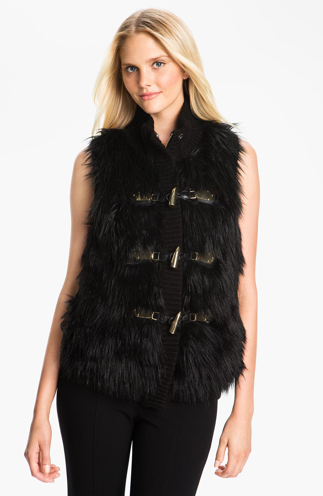 Alternate Image 1 Selected - MICHAEL Michael Kors Faux Fur Front Sweater Vest
