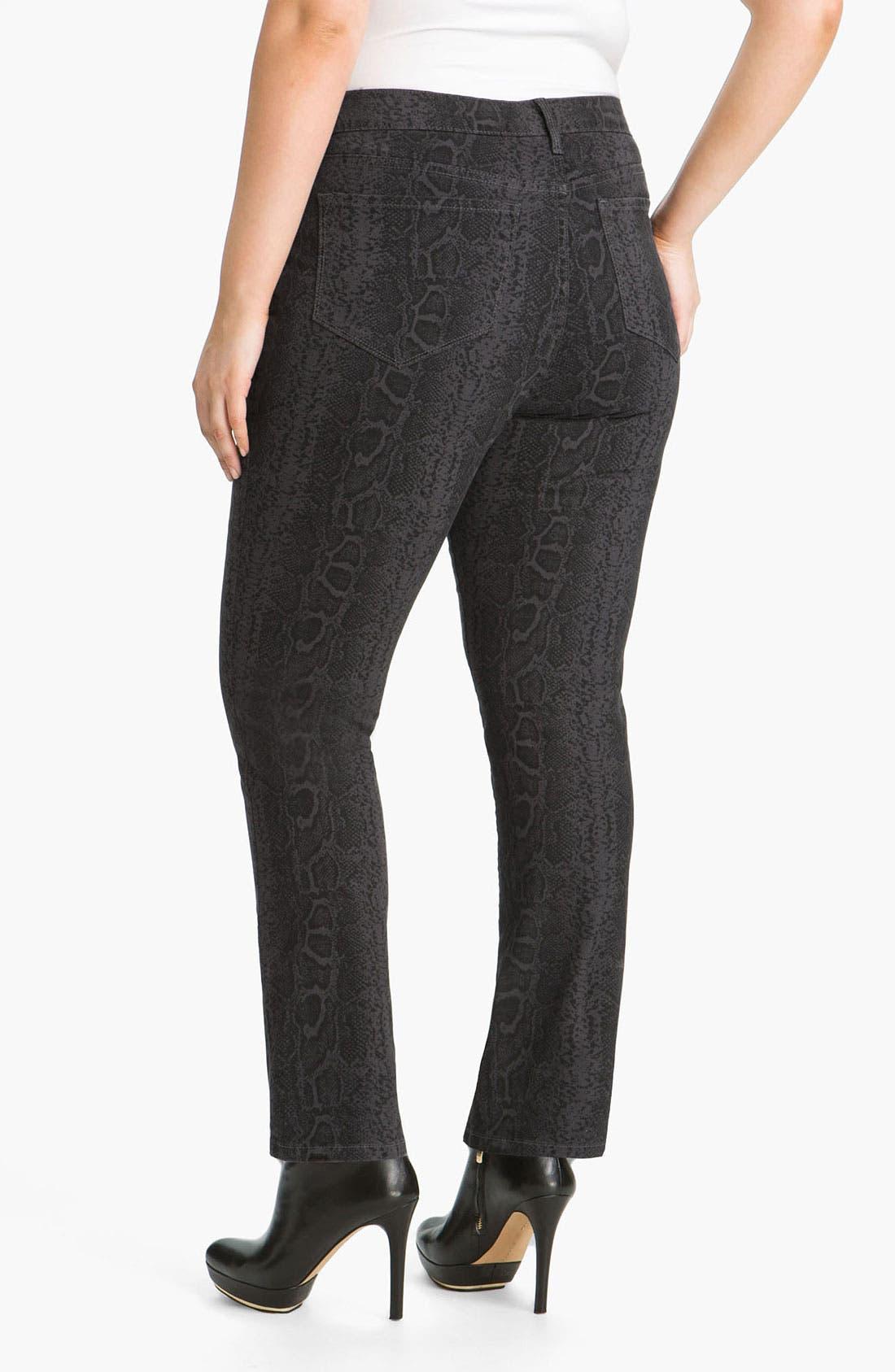 Alternate Image 2  - NYDJ 'Sheri' Python Print Skinny Twill Jeans (Plus)