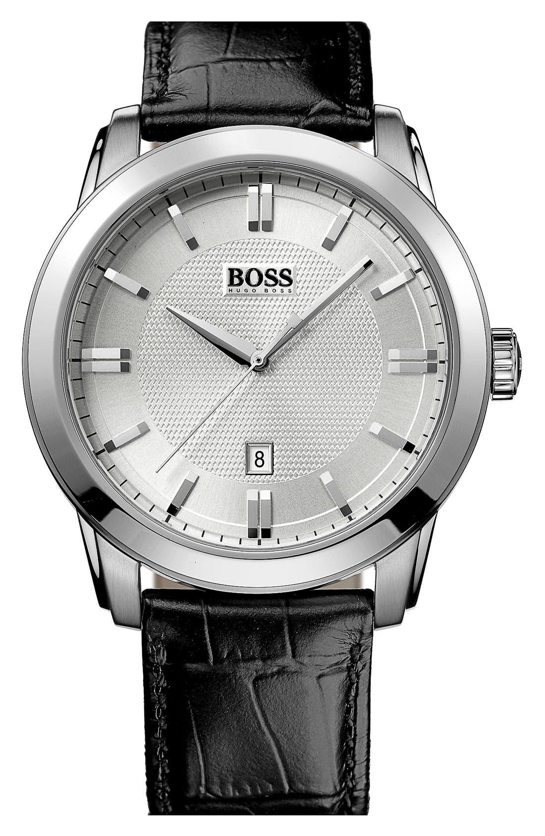Main Image - BOSS HUGO BOSS Round Leather Strap Watch, 44mm