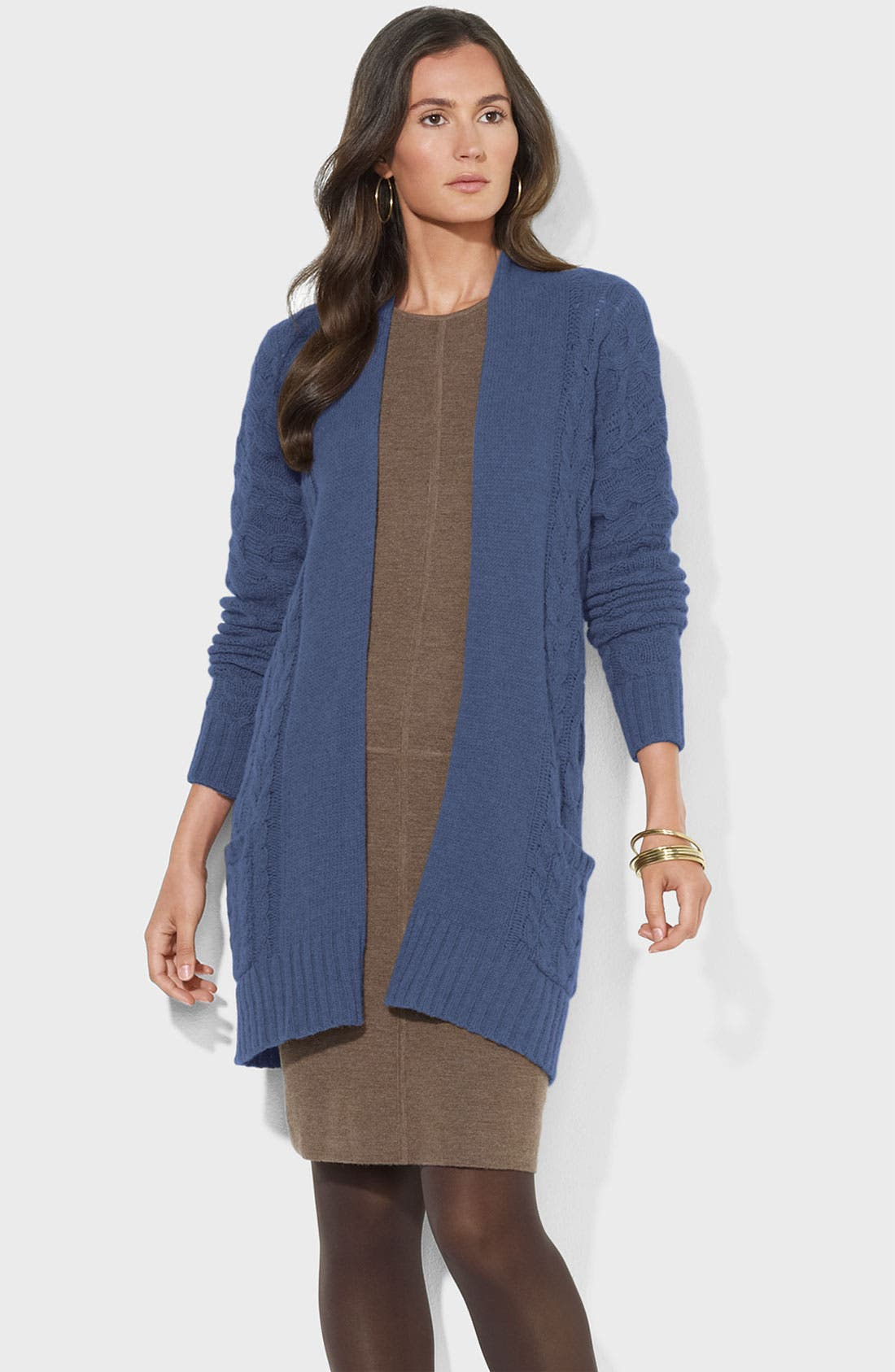 Main Image - Lauren Ralph Lauren Long Cable Cardigan (Petite)