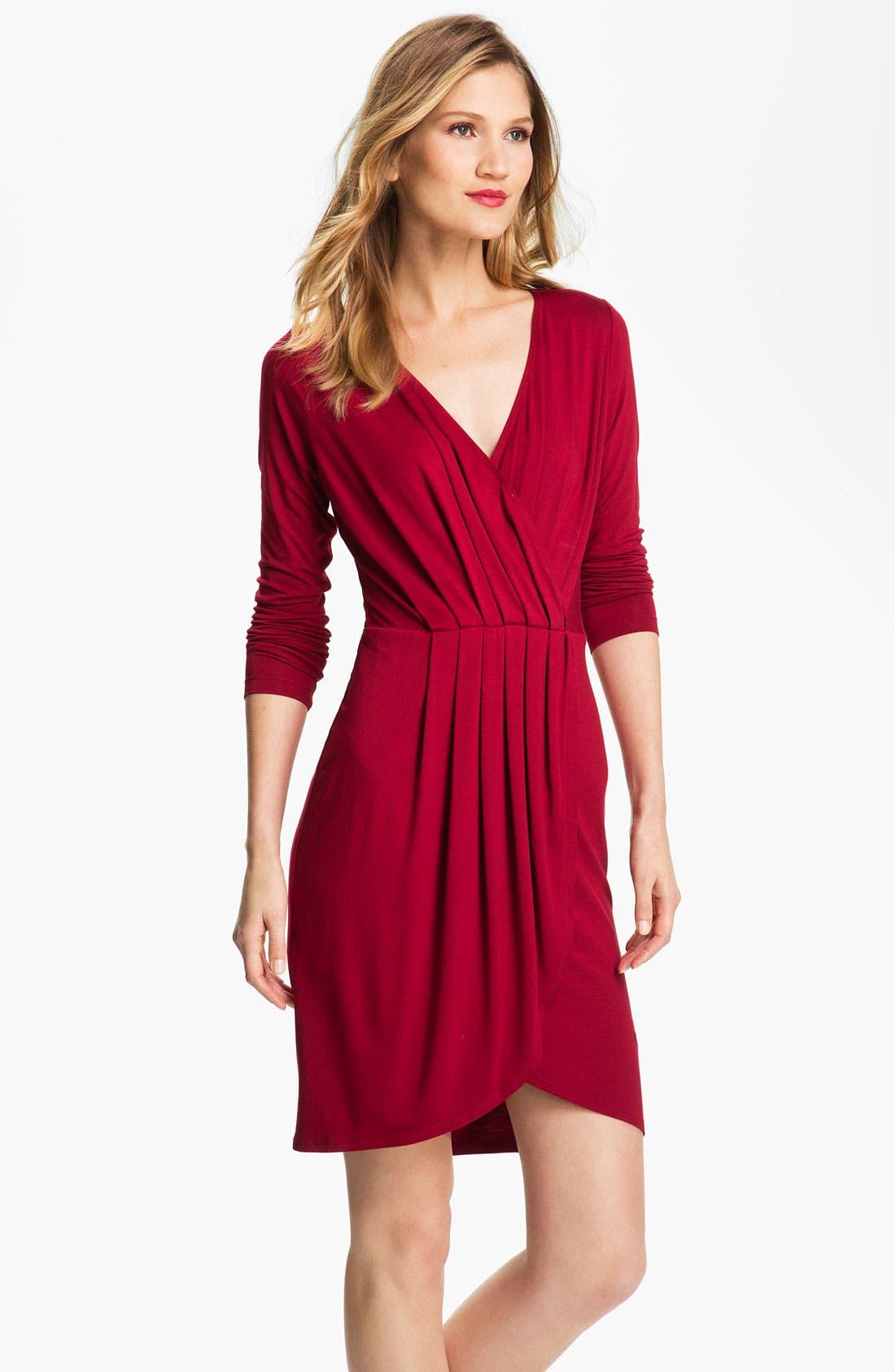 Alternate Image 1 Selected - Karen Kane Pleated Faux Wrap Dress