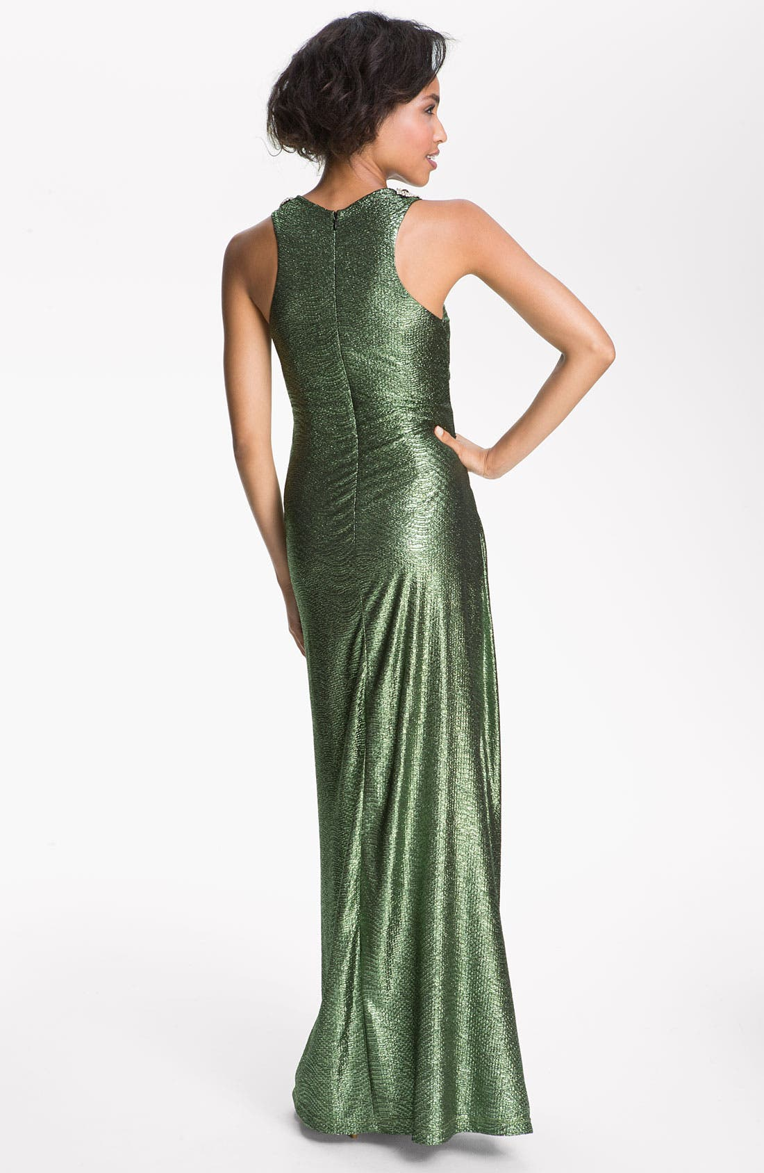 Alternate Image 2  - Hailey by Adrianna Papell Metallic Jersey Racerback Gown