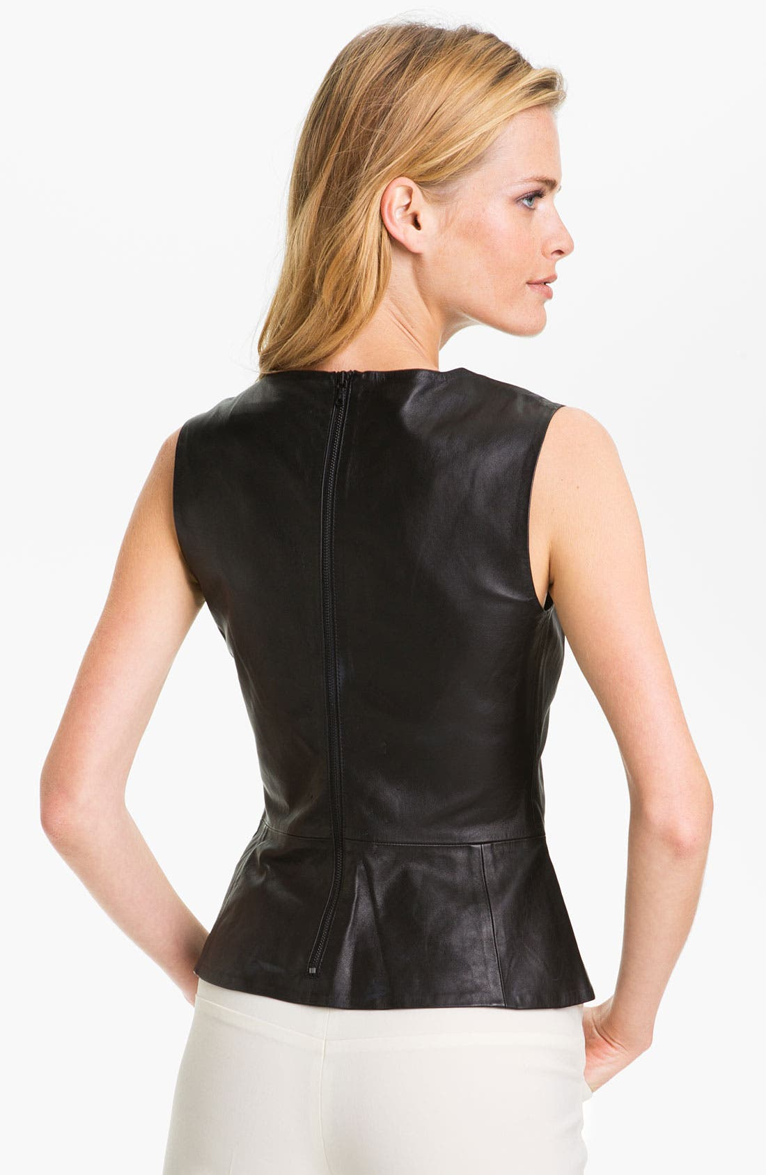 Alternate Image 2  - Trina Turk 'Tatyana' Leather Peplum Top