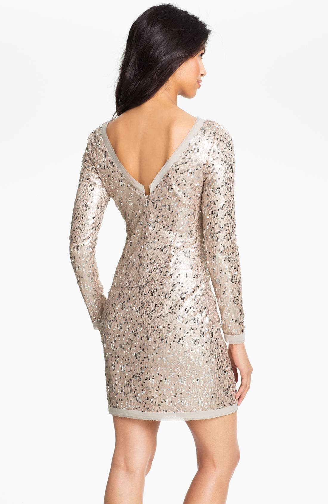 Alternate Image 2  - Eliza J Long Sleeve V-Back Sequin Sheath Dress