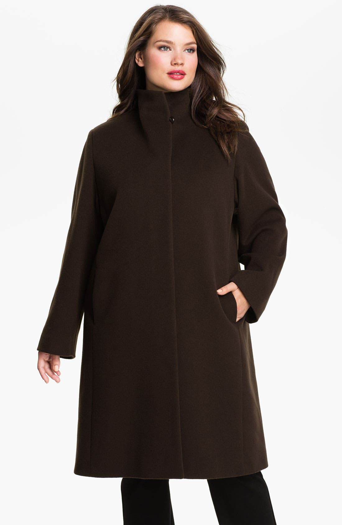 Main Image - Cinzia Rocca Fly Front Walking Coat (Plus)