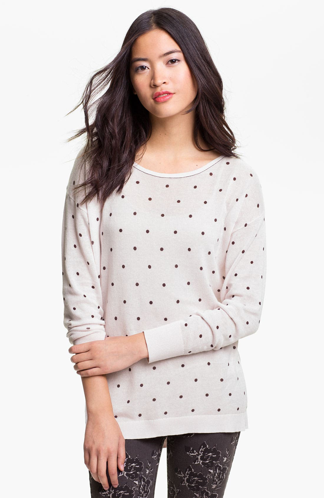 Alternate Image 1 Selected - Frenchi® Polka Dot Lightweight Cotton Sweater (Juniors)