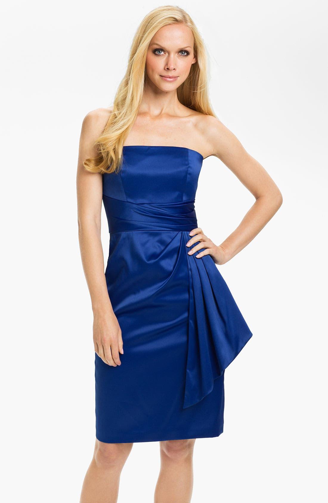 Alternate Image 1 Selected - ML Monique Lhuillier Bridesmaids Strapless Side Pleat Dress (Nordstrom Exclusive)