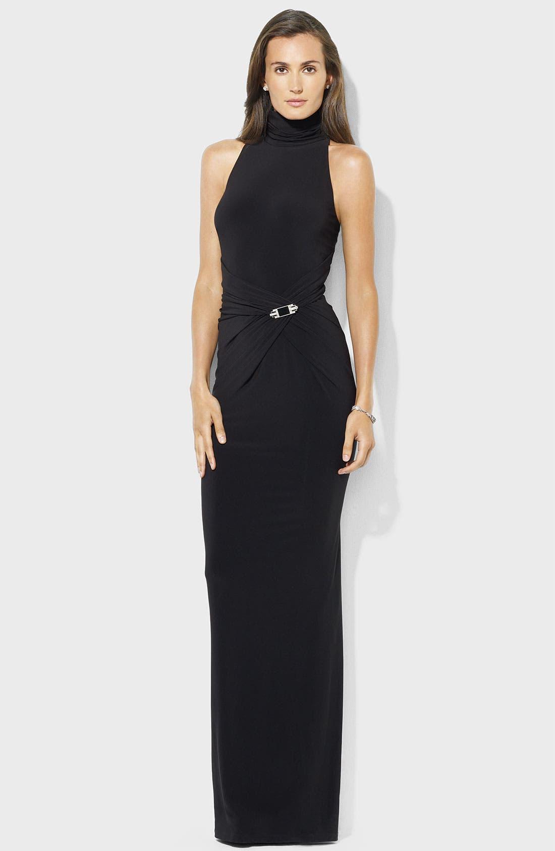 Main Image - Lauren Ralph Lauren Gathered Mock Neck Jersey Gown