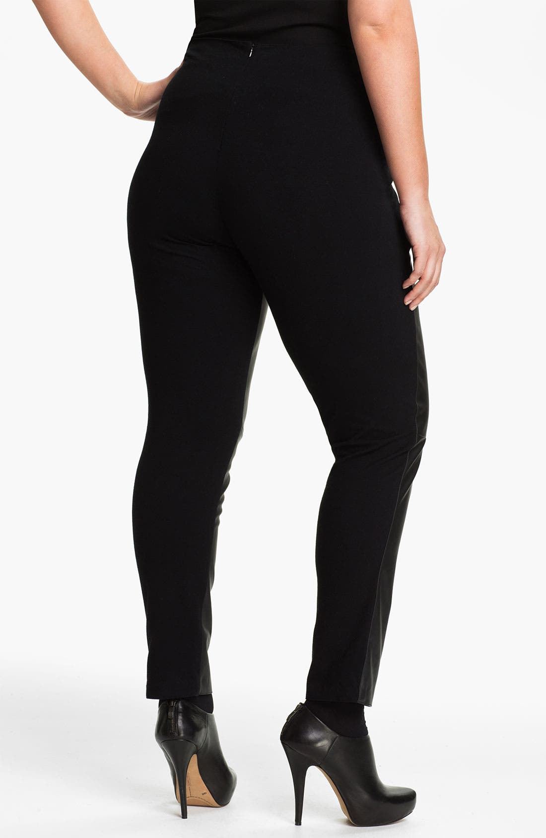 Alternate Image 2  - Two by Vince Camuto Faux Leather & Knit Leggings (Plus)