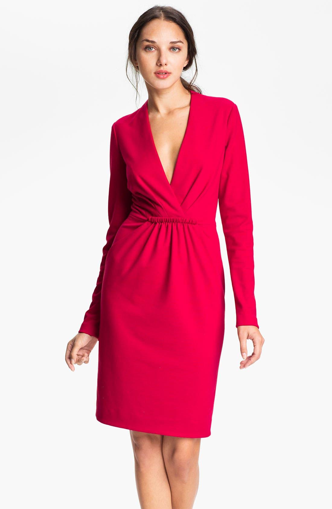 Main Image - Carmen Marc Valvo Deep-V Knit Sheath Dress